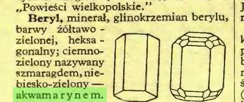 """(...) """"Powieści wielkopolskie."""" Beryl, minerał, glinokrzemian berylu, barwy żółtawo zielonej, heksa gonalny; ciemnozielony nazywany szmaragdem, niebiesko-zielony — akwamarynem..."""