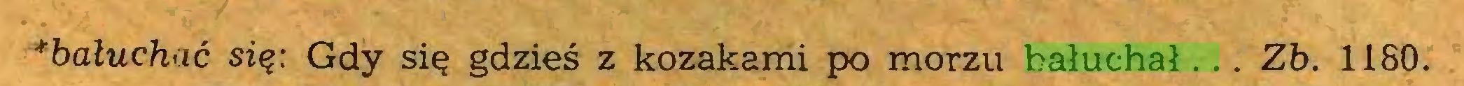 (...) **baluchać się: Gdy się gdzieś z kozakami po morzu bałuchał.. . Zb. 1180...