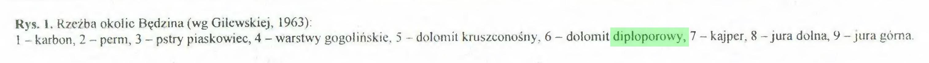 (...) Rys. 1. Rzeźba okolic Będzina (wg Gilewskiej, 1963): 1 - karbon, 2 - perm, 3 - pstry piaskowiec, 4 - warstwy gogolińskie, 5 - dolomit kruszconośny, 6 - dolomit diploporowy, 7 - kajper, 8 -jura dolna, 9 - jura górna...