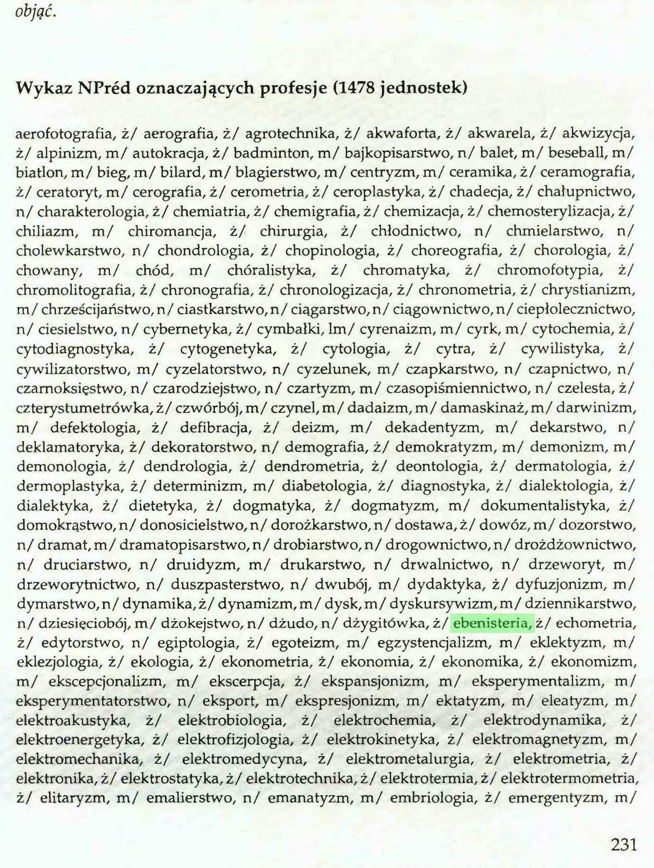 (...) objęć. Wykaz NPred oznaczających profesje (1478 jednostek) aerofotografia, ż/ aerografia, ż/ agrotechnika, ż/ akwaforta, ż/ akwarela, ż/ akwizycja, ż/ alpinizm, m/ autokracja, ż/ badminton, m/ bajkopisarstwo, n/ balet, m/ beseball, m/ biatlon, m/ bieg, m/ bilard, m/ blagierstwo, m/ centryzm, m/ ceramika, ż/ ceramografia, ż/ ceratoryt, m/ cerografia, ż/ cerometria, ż/ ceroplastyka, ż/ chadecja, ż/ chałupnictwo, n/ charakterologia, ż/ chemiatria, ż/ chemigrafia, ż/ chemizacja, ż/ chemosterylizacja, ż/ chiliazm, m/ chiromancja, ż/ chirurgia, ż/ chłodnictwo, n/ chmielarstwo, n/ cholewkarstwo, n/ chondrologia, ż/ chopinologia, ż/ choreografia, ż/ chorologia, ż/ chowany, m/ chód, m/ chóralistyka, ż/ chromatyka, ż/ chromofotypia, ż/ chromolitografia, ż/ chronografia, ż/ chronologizacja, ż/ chronometria, ż/ chrystianizm, m/ chrześcijaństwo, n/ ciastkarstwo,n/ ciagarstwo,n/ ciągownictwo,n/ ciepłolecznictwo, n/ ciesielstwo, n/ cybernetyka, ż/ cymbałki, lm/ cyrenaizm, m/ cyrk, m/ cytochemia, ż/ cytodiagnostyka, ż/ cytogenetyka, ż/ cytologia, ż/ cytra, ż/ cywilistyka, ż/ cywilizatorstwo, m/ cyzelatorstwo, n/ cyzelunek, m/ czapkarstwo, n/ czapnictwo, n/ czamoksięstwo, n/ czarodziejstwo, n/ czartyzm, m/ czasopiśmiennictwo, n/ czelesta, ż/ czterystumetrówka, ż/ czwórbój, m/ czynel, m/ dadaizm, m/ damaskinaż, m/ darwinizm, m/ defektologia, ż/ defibracja, ż/ deizm, m/ dekadentyzm, m/ dekarstwo, n/ deklamatoryka, ż/ dekoratorstwo, n/ demografia, ż/ demokratyzm, m/ demonizm, m/ demonologia, ż/ dendrologia, ż/ dendrometria, ż/ deontologia, ż/ dermatologia, ż/ dermoplastyka, ż/ determinizm, m/ diabetologia, ż/ diagnostyka, ż/ dialektologia, ż/ dialektyka, ż/ dietetyka, ż/ dogmatyka, ż/ dogmatyzm, m/ dokumentalistyka, ż/ domokrąstwo, n/ donosicielstwo, n/ dorożkarstwo, n/ dostawa, ż/ dowóz, m/ dozorstwo, n/ dramat, m/ dramatopisarstwo,n/ drobiarstwo, n/ drogownictwo, n/ drożdżownictwo, n/ druciarstwo, n/ druidyzm, m/ drukarstwo, n/ drwalnictwo, n/ drzeworyt, m/ drzeworytnictwo, n/ 