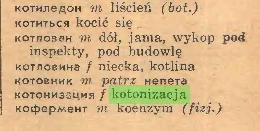 (...) KOTKjieAOH m liścień (bot.) KOTMTbcsi kocić się kot/iobsh m dół, jama, wykop pod inspekty, pod budowlę KOT/ioBMHa / niecka, kotlina kotobhmk m patrz HeneTa KOTOHnsauMs / kotonizacja KocpepMeHT m koenzym (fizj.)...