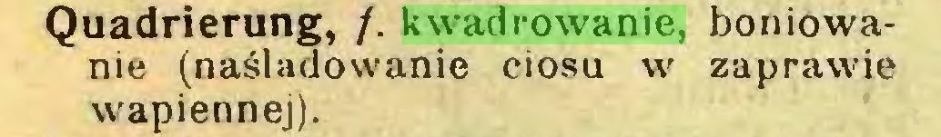 (...) Quadrierung, /. kwadrowanie, boniowanie (naśladowanie ciosu w zaprawie wapiennej)...