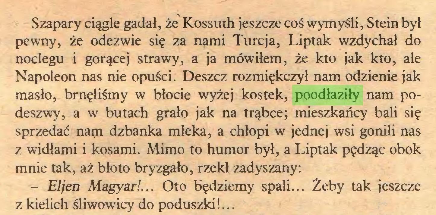 (...) Szapary ciągle gadał, że Kossuth jeszcze coś wymyśli, Stein byl pewny, że odezwie się za nami Turcja, Liptak wzdychał do noclegu i gorącej strawy, a ja mówiłem, że kto jak kto, ale Napoleon nas nie opuści. Deszcz rozmiękczył nam odzienie jak masło, brnęliśmy w błocie wyżej kostek, poodłaziły nam podeszwy, a w butach grało jak na trąbce; mieszkańcy bali się sprzedać nam dzbanka mleka, a chłopi w jednej wsi gonili nas z widłami i kosami. Mimo to humor był, a Liptak pędząc obok mnie tak, aż błoto bryzgało, rzekł zadyszany: - El jen Magyar!... Oto będziemy spali... Żeby tak jeszcze z kielich śliwowicy do poduszki!...
