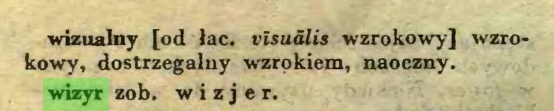 (...) wizualny [od łac. visualis wzrokowy] wzrokowy, dostrzegalny wzrokiem, naoczny, wizyr zob. wizjer...