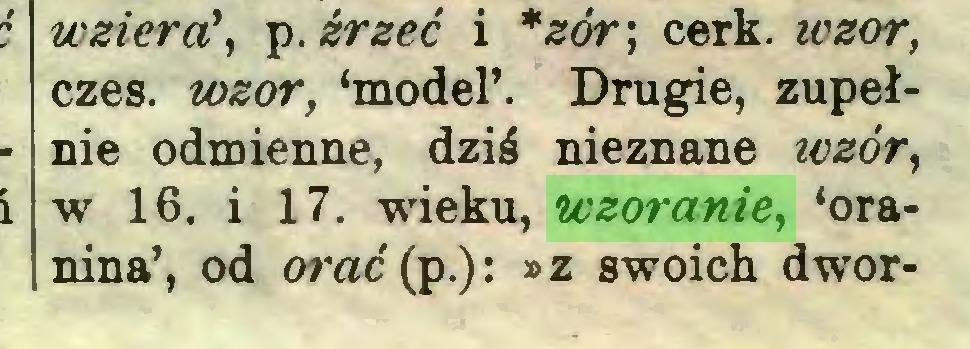 (...) wzierci, p. źrzeć i *zór; cerk. wzór, czes. wzór, 'model'. Drugie, zupełnie odmienne, dziś nieznane wzór, w 16. i 17. wieku, wzoranie, 'oranina', od orać{p.): »z swoich dwór...