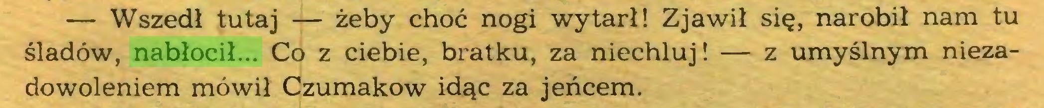 (...) — Wszedł tutaj — żeby choć nogi wytarł! Zjawił się, narobił nam tu śladów, nabłocił... Co z ciebie, bratku, za niechluj! — z umyślnym niezadowoleniem mówił Czumakow idąc za jeńcem...