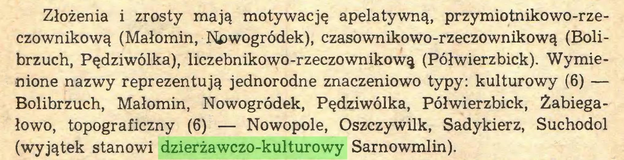 (...) Złożenia i zrosty mają motywację apelatywną, przymiotnikowo-rzeczownikową (Małomin, Nowogródek), czasownikowo-rzeczownikową (Bolibrzuch, Pędziwólka), liczebnikowo-rzeczownikową (Półwierzbick). Wymienione nazwy reprezentują jednorodne znaczeniowo typy: kulturowy (6) — Bolibrzuch, Małomin, Nowogródek, Pędziwólka, Półwierzbick, Żabiegałowo, topograficzny (6) — Nowopole, Oszczywilk, Sadykierz, Suchodol (wyjątek stanowi dzierżawczo-kulturowy Sarnowmlin)...