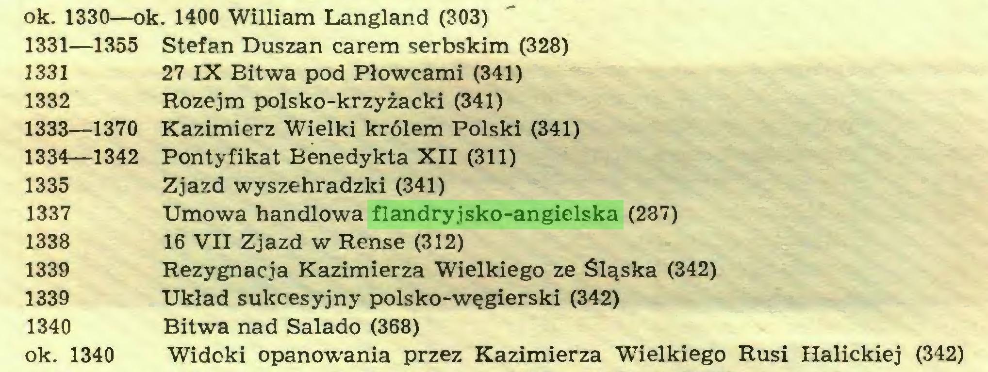 (...) ok. 1330—ok. 1400 William Langland (303) 1331— 1355 Stefan Duszan carem serbskim (328) 1331 27 IX Bitwa pod Płowcami (341) 1332 Rozejm polsko-krzyżacki (341) 1333— 1370 Kazimierz Wielki królem Polski (341) 1334— 1342 Pontyfikat Benedykta XII (311) 1335 Zjazd wyszehradzki (341) 1337 Umowa handlowa flandryjsko-angielska (287) 1338 16 VII Zjazd w Rense (312) 1339 Rezygnacja Kazimierza Wielkiego ze Śląska (342) 1339 Układ sukcesyjny polsko-węgierski (342) 1340 Bitwa nad Salado (368) ok. 1340 Widoki opanowania przez Kazimierza Wielkiego Rusi Halickiej (342)...