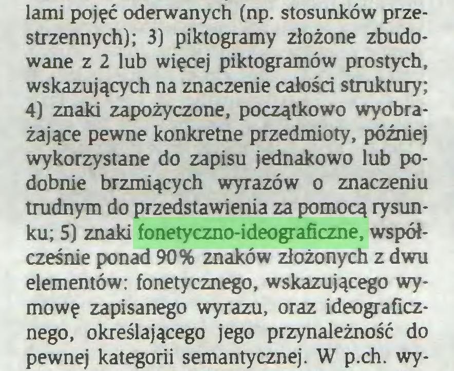 (...) lami pojęć oderwanych (np. stosunków przestrzennych); 3) piktogramy złożone zbudowane z 2 lub więcej piktogramów prostych, wskazujących na znaczenie całości struktury; 4) znaki zapożyczone, początkowo wyobrażające pewne konkretne przedmioty, później wykorzystane do zapisu jednakowo lub podobnie brzmiących wyrazów o znaczeniu trudnym do przedstawienia za pomocą rysunku; 5) znaki fonetyczno-ideograficzne, współcześnie ponad 90% znaków złożonych z dwu elementów: fonetycznego, wskazującego wymowę zapisanego wyrazu, oraz ideograficznego, określającego jego przynależność do pewnej kategorii semantycznej. W p.ch. wy...
