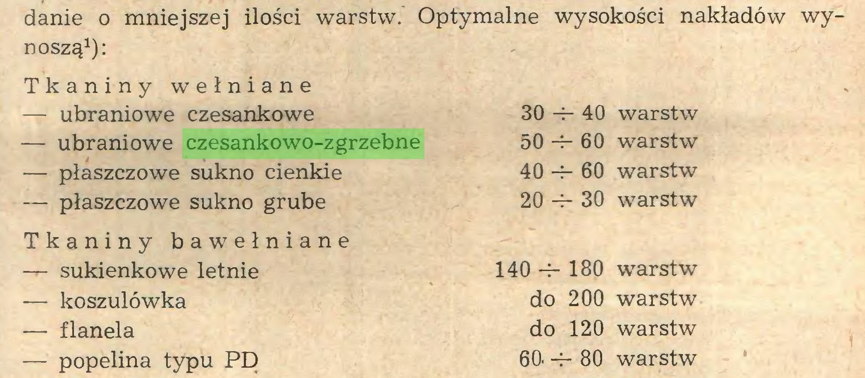 (...) danie o mniejszej ilości warstw. Optymalne wysokości nakładów wynoszą1): Tkaniny wełniane — ubraniowe czesankowe — ubraniowe czesankowo-zgrzebne — płaszczowe sukno cienkie — płaszczowe sukno grube 30 -i- 40 warstw 50-4-60 warstw 40 -i- 60 warstw 20 -r- 30 warstw Tkaniny bawełniane — sukienkowe letnie 140 180 warstw — koszulówka do 200 warstw — flanela do 120 warstw — popelina typu PD 60. -f- 80 warstw...
