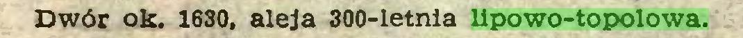 (...) Dwór ok. 1630, aleja 300-letnia lipowo-topolowa...