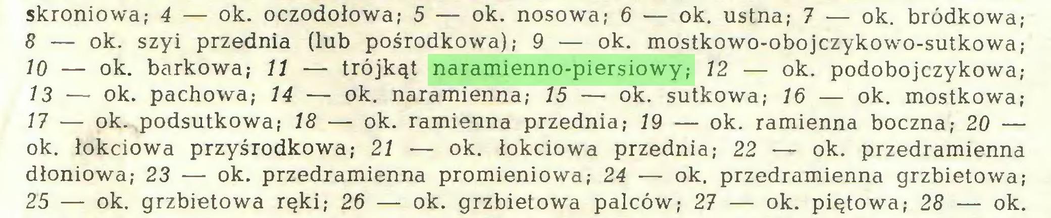(...) skroniowa; 4 — ok. oczodołowa; 5 — ok. nosowa; 6 — ok. ustna; 7 — ok. bródkowa; 8 — ok. szyi przednia (lub pośrodkowa); 9 — ok. mostkowo-obojczykowo-sutkowa; 10 — ok. barkowa; 11 — trójkąt naramienno-piersiowy; 12 — ok. podobojczykowa; 13 — ok. pachowa; 14 — ok. naramienna; 15 — ok. sutkowa; 16 — ok. mostkowa; 17 — ok. podsutkowa; 18 — ok. ramienna przednia; 19 — ok. ramienna boczna; 20 — ok. łokciowa przyśrodkowa; 21 — ok. łokciowa przednia; 22 — ok. przedramienna dłoniowa; 23 — ok. przedramienna promieniowa; 24 — ok. przedramienna grzbietowa; 25 — ok. grzbietowa ręki; 26 — ok. grzbietowa palców; 27 — ok. piętowa; 28 — ok...