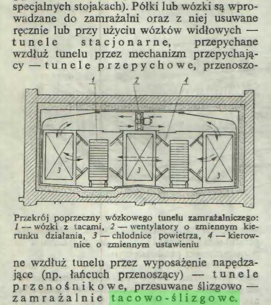 (...) specjalnych stojakach). Półki lub wózki są wprowadzane do zamrażalni oraz z niej usuwane ręcznie lub przy użyciu wózków widłowych — tunele stacjonarne, przepychane wzdłuż tunelu przez mechanizm przepychający — tunele przepychowe, przenoszoPrzekrój poprzeczny wózkowego tunelu zamraialniczego: / — wózki z tacami, 2 — wentylatory o zmiennym kierunku działania, 3 — chłodnice powietrza, 4 — kierownice o zmiennym ustawieniu ne wzdłuż tunelu przez wyposażenie napędzające (np. łańcuch przenoszący) — tunele przenośnikowe, przesuwane ślizgowo — zamrażalnie tacowo-ślizgowe...