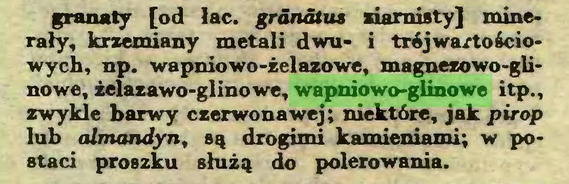 (...) granaty [od łac. granatu* ziarnisty] minerały, krzemiany metali dwu- i trójwartościowych, np. wapniowo-żelazowe, magnezowo-glinowe, żelazawo-glinowe, wapniowo-glinowe itp., zwykle barwy czerwonawej; niektóre, jak pirop lub almandyn, są drogimi kamieniami; w postaci proszku służą do polerowania...