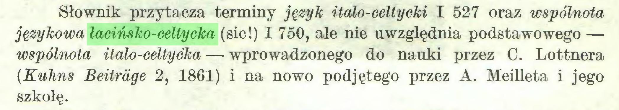 (...) Słownik przytacza terminy język italo-celtycki I 527 oraz wspólnota językowa łacińsko-celtycka (sic!) I 750, ale nie uwzględnia podstawowego — wspólnota italo-celtycka — wprowadzonego do nauki przez C. Lottnera {Kuhns Beitrüge 2, 1861) i na nowo podjętego przez A. Meilleta i jego szkołę...