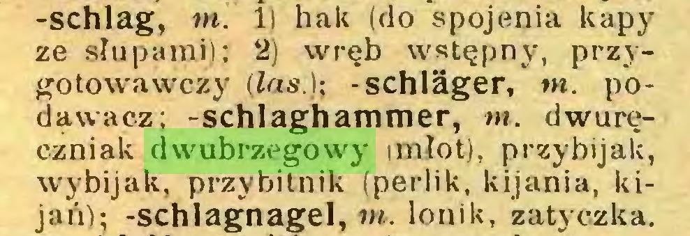 (...) -schlag, m. li hak (do spojenia kapy ze slupami); 2) wręb wstępny, przygotowawczy (Ins.); -schläger, m. podąwacz; -schlaghammer, m. dwuręczniak dwubrzegowy imlot), przybijali, wybijak, przybilnik (perlik, kijania, kijań); -schlagnagel, m. lonik, zatyczka...