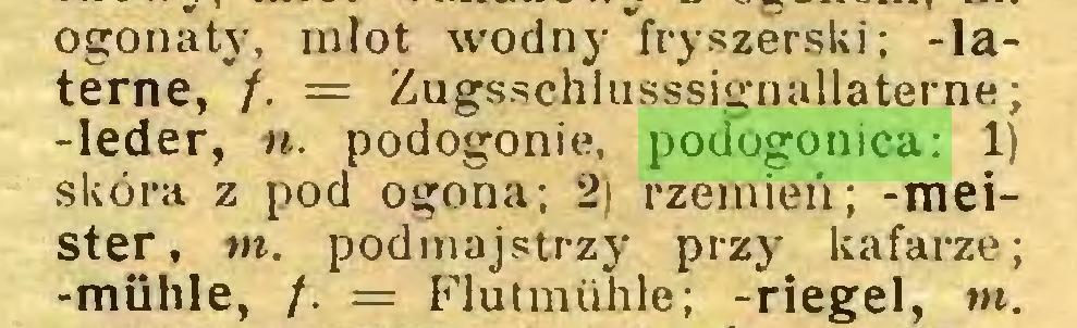 """(...) ogonaty, młot wodny """"fryszerski; -laterne, /. = Zugsschlusssignallaterne; -leder, n. podogonie, podogonica: 1) skóra z pod ogona; 2) rzemień; -meister, m. podmajstrzy przy kafarze; -mühle, /. = Flutmühle; -riegel, m..."""