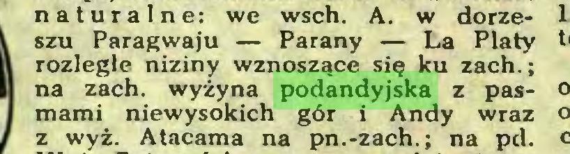 (...) naturalne: we wsch. A. w dorzeszu Paragwaju — Parany — La Platy rozległe niziny wznoszące się ku zach.; na zach. wyżyna podandyjska z pasmami niewysokich gór i Andy wraz z wyż. Atacama na pn.-zach.; na pd...