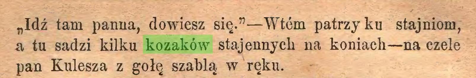 """(...) """"Idź tam panna, dowiesz się.""""—Wtem patrzy ku stajniom, a tu sadzi kilku kozaków stajennych na koniach—na czele pan Kulesza z gołę szablą w ręku..."""