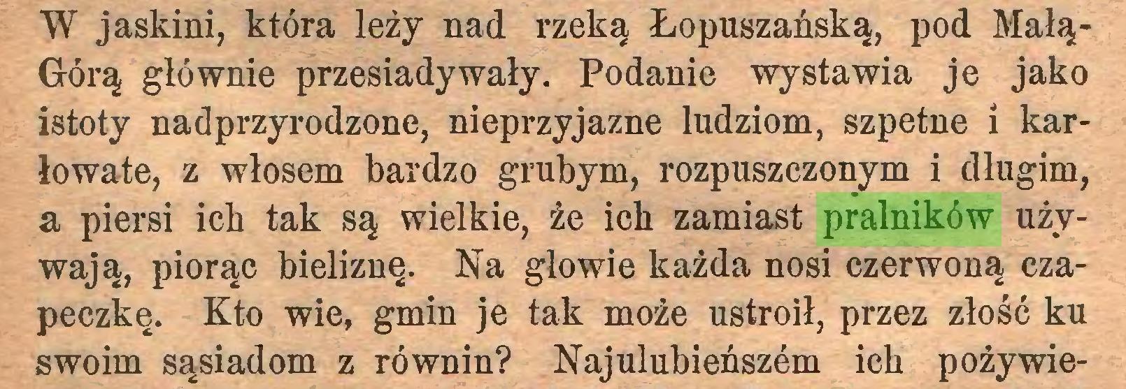 (...) W jaskini, która leży nad rzeką Łopuszańską, pod MałąGórą głównie przesiadywały. Podanie wystawia je jako istoty nadprzyrodzone, nieprzyjazne ludziom, szpetne i karłowate, z włosem bardzo grubym, rozpuszczonym i długim, a piersi ich tak są wielkie, że ich zamiast pralników używają, piorąc bieliznę. Na głowie każda nosi czerwoną czapeczkę. Kto wie, gmin je tak może ustroił, przez złość ku swoim sąsiadom z równin? Najulubieńszem ich pożywie...