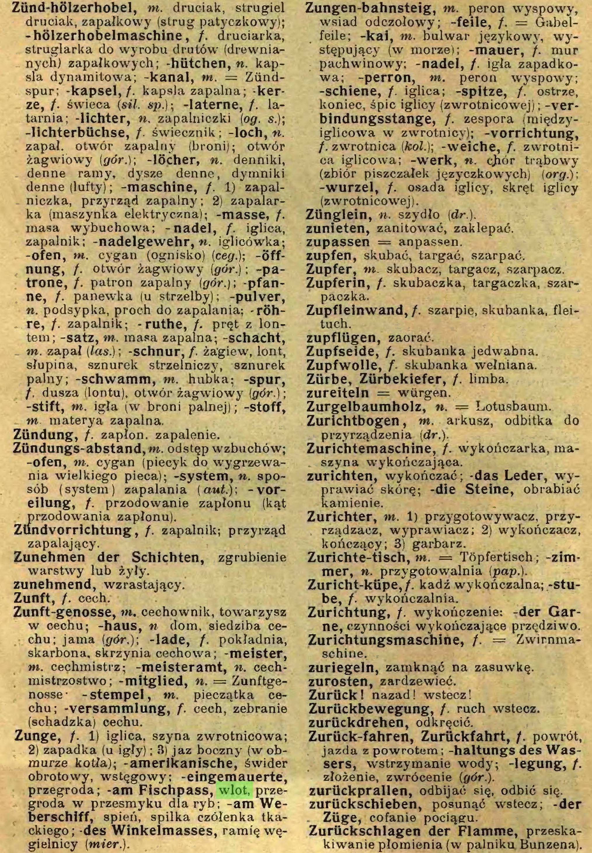 (...) Zunge, /. 1) iglica, szyna zwrotnicowa; 2) zapadka (u igły); 3) jaz boczny (w obmurze kotła); -amerikanische,' świder obrotowy, wstęgowy; -eingemauerte, przegroda; -am Fischpass, wlot, przegroda w przesmyku dla ryb; -am Weberschiff, spień, spilka czółenka tkackiego; -des Winkelmasses, ramię węgielnicy (mier.). Zungen-bahnsteig, m. peron wyspowy,...