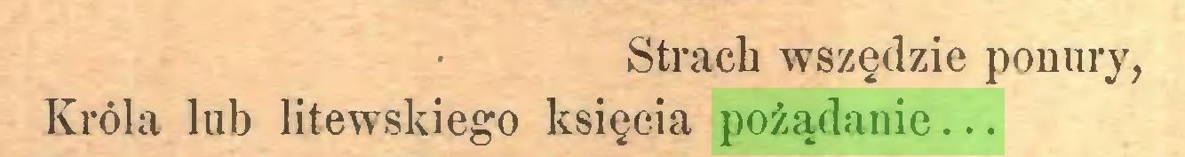 (...) Strach wszędzie ponury, Króla łub litewskiego księcia pożądanie...