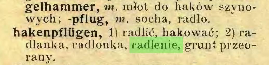 (...) gelhammer, tn. młot do haków szynowych; -pflug, tn. socha, radio, hakenpflügen, 1) radlić, hakować; 2) radlanka, radlonka, radlenie, grunt przeorany...