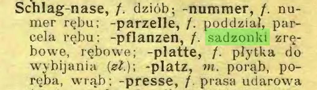 (...) Schlag-nase, /. dziób; -nummer, /. numer rębu; -parzelle, /. poddział, parcela rębu; -pflanzen, /. sadzonki zrębowe, rębowe; -platte, /. płytka do wybijania (zł.); -platz, w. porąb, poręba, wrąb; -presse, /. prasa udarowa...
