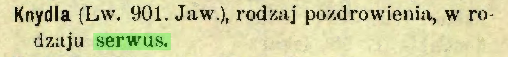 (...) Knydla (Lw. 901. Jaw.), rodzaj pozdrowienia, w rodzaju serwus...