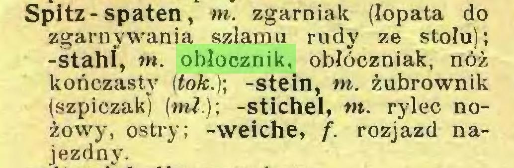 (...) Spitz-spaten, m. zgarniak (łopata do zgarnywania szlamu rudy ze stołu); -stahl, »w. obłocznik, obłóczniak, nóż kończasty (tok.)] -stein, m. żubrownik (szpiczak) (mi.); -stichel, m. rylec nożowy, ostry; -weiche, f. rozjazd najezdny...