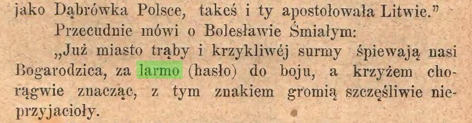 """(...) jako Dąbrówka Polsce, takeś i ty apostołowała Litwie."""" Przecudnie mówi o Bolesławie Śmiałym: """"Już miasto trąby i krzykliwej surmy śpiewają nasi Bogarodzica, za larmo (hasło) do boju, a krzyżem chorągwie znacząc, z tym znakiem gromią szczęśliwie nieprzyjacioły..."""