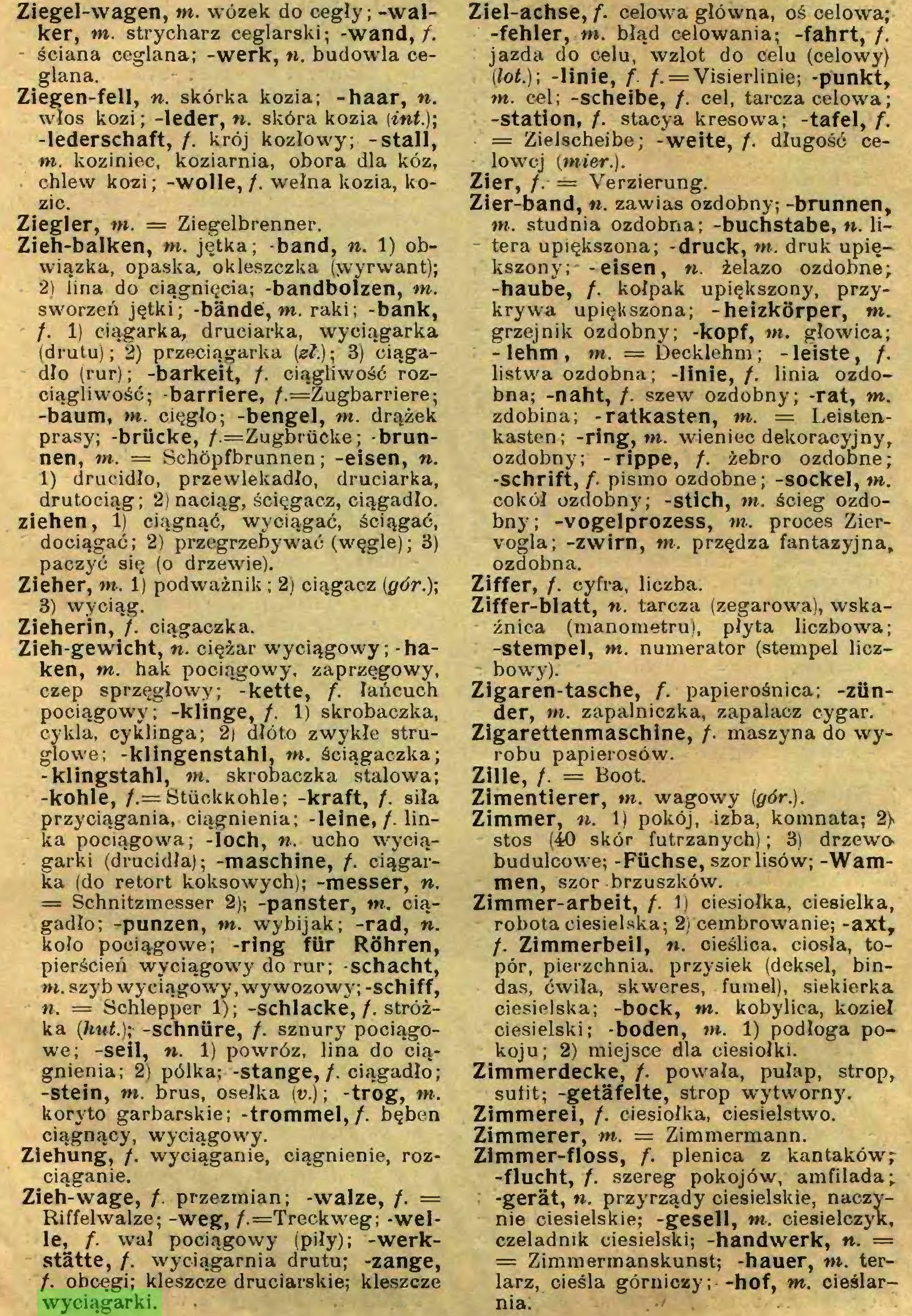 (...) Zieh-wage, /. przezmian; -walze, /. = Riffelwalze; -weg, /.=Treckweg; -welle, /. wał pociągowy (piły); -werkstätte, /. wyciągam i a drutu; -zange, /. obcęgi; kleszcze druciarskie; kleszcze wyciągarki. Ziel-achse, f. celowa główna, oś celowa; -fehler, ni. błąd celowania; -fahrt, /...
