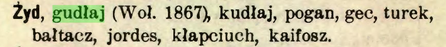 (...) Żyd, gudłaj (Woł. 1867), kudłaj, pogan, gec, tu rek, bałtacz, jordes, kłapciuch, kaifosz...