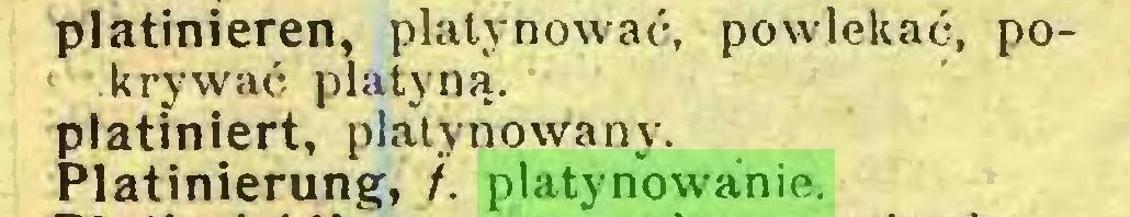 (...) platinieren, platynować, powlekać, pokrywać platyną, latiniert, platynowany, latinierung, f. platynowanie...
