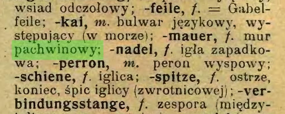 (...) wsiad odczołowy; -feile, /. = Gabelfeile; -kai, m. bulwar językowy, występujący (w morze); -mauer, /. mur pachwinowy: -nadel, /. igła zapadkowa; -perron, w. peron wyspowy; -schiene, /. iglica; -spitze, f. ostrze, koniec, śpic iglicy (zwrotnicowej); -verbindungsstange, /. zespora (raiędzy...