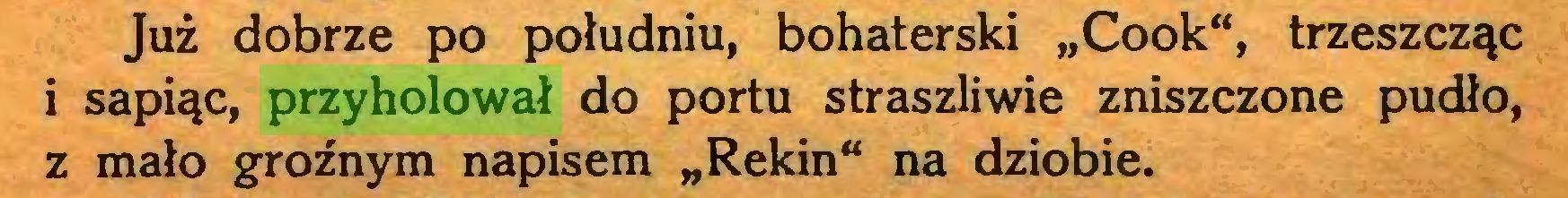 """(...) Już dobrze po południu, bohaterski """"Cook"""", trzeszcząc i sapiąc, przyholował do portu straszliwie zniszczone pudło, z mało groźnym napisem """"Rekin"""" na dziobie..."""