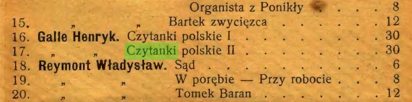 """(...) Organista z Ponikły ». . . . 8 15. * """" Bartek zwycięzca 12 16. Galie Henryk. Czytanki polskie I 30 17. """" """" Czytanki polskie II 30 18. Reymont Władysław. Sąd 6 19. """" * W porębie — Przy robocie ... 8 20. """" * Tomek Baran 12..."""