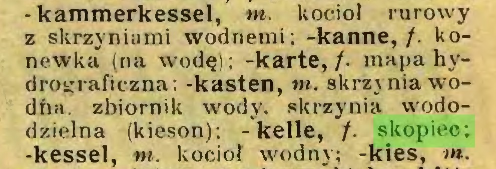 (...) -kammerkessel, tn. kocioł rurowy z skrzyniami wodnemi; -kanne,/, konewka (na wodę); -karte,/, mapa hydrograficzna; -kästen, tn. skrz\niawodha. zbiornik wody. skrzynia wododzielna (kieson); -keile, /. skopiec; -kessel, tn. kocioł wodny; -kies, tn...