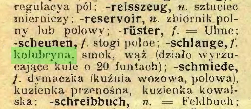 (...) regulacya pól; -reisszeug, n. sztuciec mierniczy; -reservoir, n. zbiornik polny lub połowy; -rüster, f. = Ulme; -Scheunen,/, stogi polne; -schlänge,/-, kolubryna, smok, wąż (działo wyrzucające kule o 20 funtach); -schmiede, /. dymaczka (kuźnia wozowa, połowa), kuzienka przenośna, kuzienka kowalska: -schreibbuch, n. = Feldbuch;...