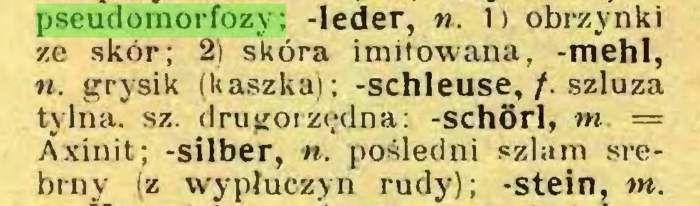 (...) pseudomorfozy; -leder, ». 1) obrzynki ze skór; 2) skóra imitowana, -mehl, ». grysik (kaszka); -schleuse,/, szluza tylna. sz. drugorzędna: -schörl, ni — Axinit; -silber, ». pośledni szlam srebrny (z wypłuczyn rudy); -stein, nt...