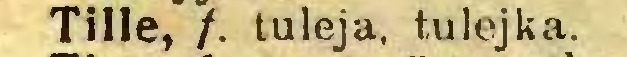 (...) Tille, /. tuleja, tulejka...