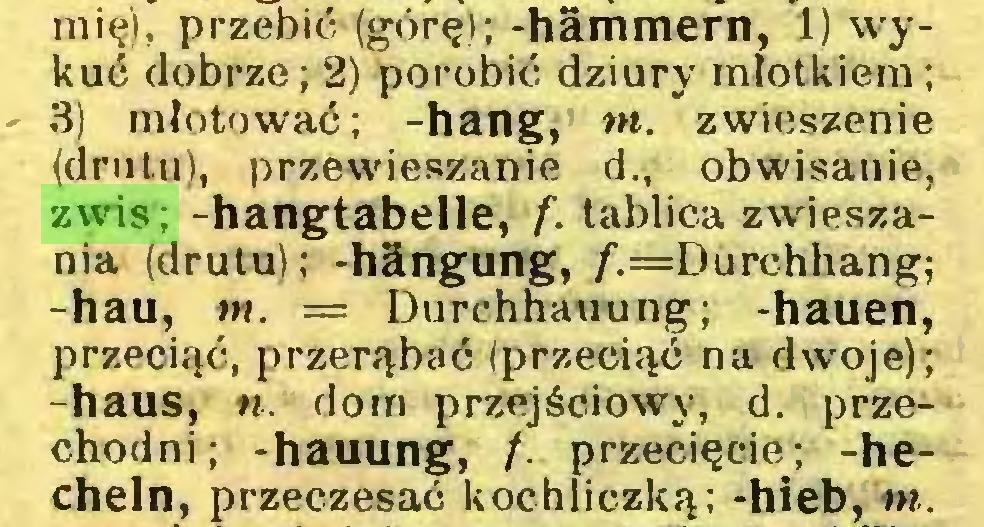 (...) mię). przebić (górę); -hämmern, 1) wykuć dobrze; 2) porobić dziury młotkiem; 3) młotować; -hang, m. zwieszenie (drutu), przewieszanie d., obwisanie, zwis; -hangtabeile, f. tablica zwieszania (drutu); -hängung, /^Durchhang; -hau, in. = Durchhauung; -hauen, przeciąć, przerąbać (przeciąć na dwoje); -haus, n. dom przejściowy, d. przechodni; -hauung, /. przecięcie; -hecheln, przeczesać kochliczką; -hieb, in...