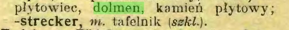 (...) płytowiec, dolmen, kamień płytowy; -Strecker, m. tafelnik (sskl.)...