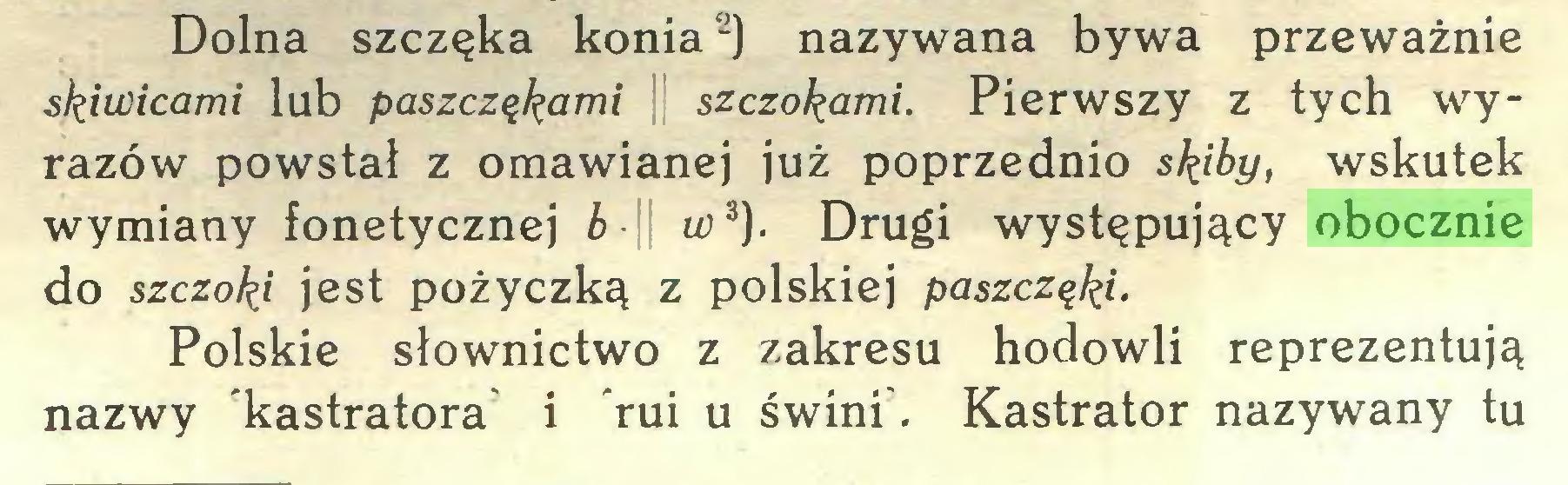 (...) Dolna szczęka konia2) nazywana bywa przeważnie skiwicami lub paszczakami szczotami. Pierwszy z tych wyrazów powstał z omawianej już poprzednio skiby, wskutek wymiany fonetycznej b w3). Drugi występujący obocznie do szczoki jest pożyczką z polskiej paszczękiPolskie słownictwo z zakresu hodowli reprezentują nazwy kastratora i rui u świni. Kastrator nazywany tu...