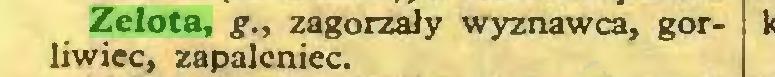 (...) Zelota, g., zagorzały wyznawca, gorliwiec, zapaleniec...