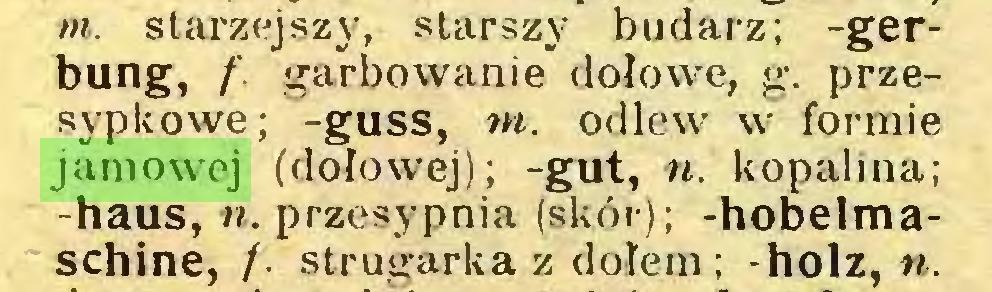 (...) m. starzejszy, starszy budarz; -gerbung, /'. garbowanie dołowe, g. przesypkowe; -guss, m. odlew w formie jamowej (dołowej); -gut, n. kopalina; -haus, n. przesypnia (skór); -hobelmaschine, /• strugarka z dołem; -holz, n...