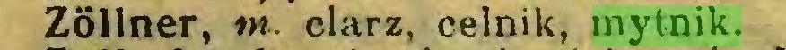(...) Zöllner, m. clarz, celnik, mytnik...