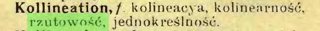 (...) Kollineation, / kolineacya, kolinearność, rzutowość, jednokreślność...