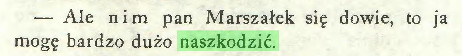 (...) — Ale nim pan Marszałek się dowie, to ja mogę bardzo dużo naszkodzić...