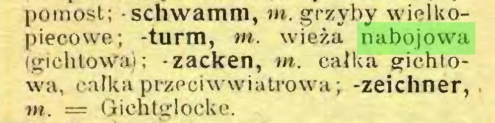 (...) pomost; - schwamm, m. grzyby wielkopiecowe; -turm, m. wieża nabojowa (gichtowa); -zacken, m. całka gichtowa, całka przeciwwiatrowa; -Zeichner, w. — Gichtglocke...